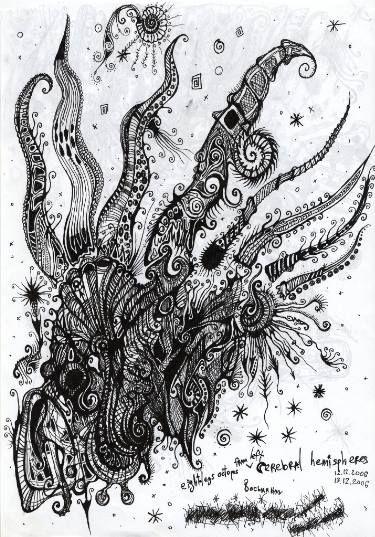 "Saatchi Art Artist Ant Rojo; Drawing, ""Eight Legged Octopus - Dark Space Ornament Occult Art, Black Monsters Ink Painting, Deep Sea Gift Idea Design"" #art"