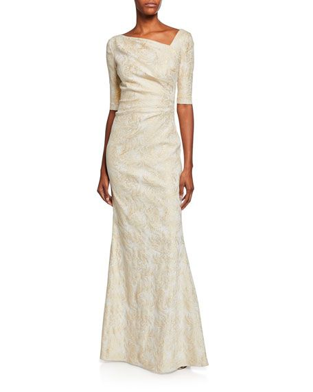 4cf94548 Draped Jacquard Half-Sleeve Gown by Rickie Freeman for Teri Jon at Neiman  Marcus