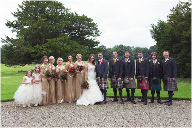 Ushers in kilts and bridesmaids in gold #scottishwedding - Wedderburn Castle