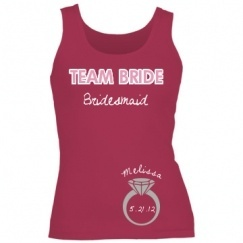 "If custom shirts will be involved, I like the rest (except the bride's shirt) to say the same thing.  ""Bride's friend"" is weird looking.  :-/  Custom Bachelorette Party Shirts, Tank Tops,  More wedding-ideas"