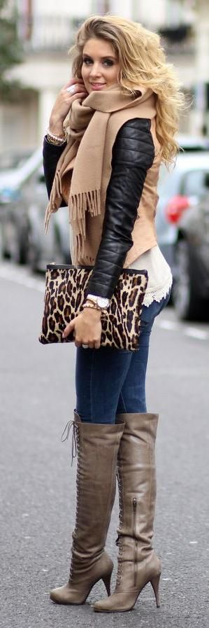 Beige jacket, over the knee boots, white top, scarf
