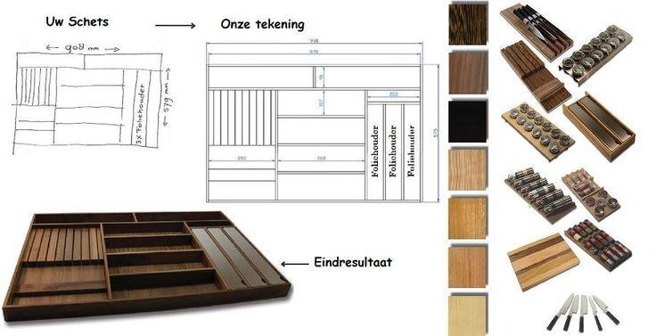 Flexibel houten bestekbak - eigen indeling bestekbakken en / of houten bestekindelingen op maat voor in uw keukenlade