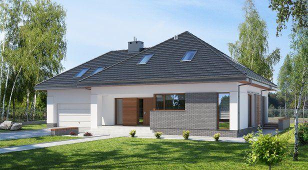 E-142, Dom z poddaszem z dużą łazienką - Projekty domów - E-DOMY.PL Projekty domów nowoczesnych: parterowych i piętrowych