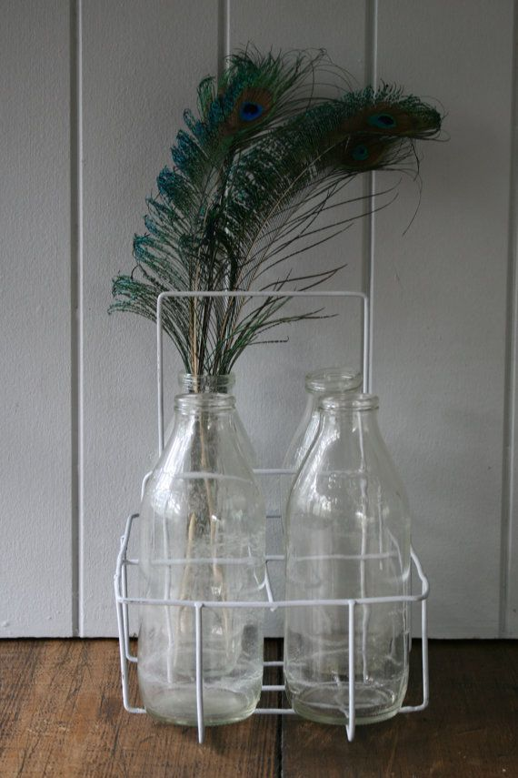 Old Milk Bottles in Wire Carrier Crate Set - Country Style Australian Dairy Farmers 600ml Prop Styling