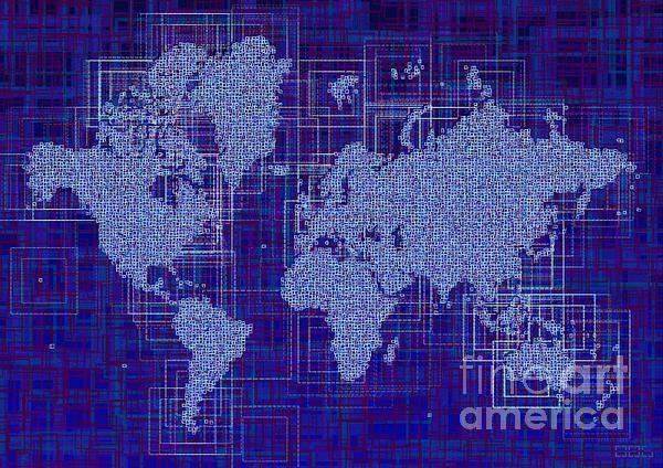 World Map Rettangoli In Blue And White by elevencorners. World map art wall print decor #elevencorners #maprettangoli