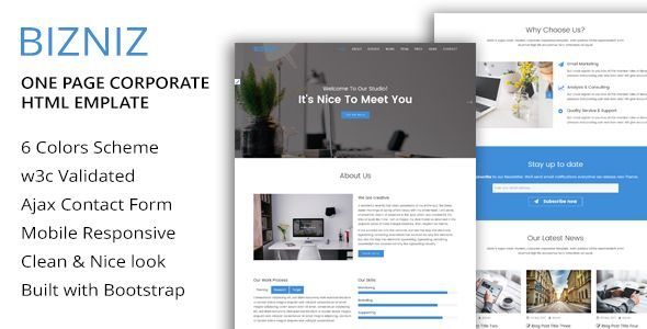 awesome BIZNIZ - One particular Web page Corporate HTML Template (Enterprise)