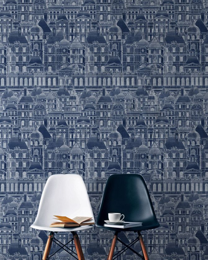 Louvre Blue Wallpaper from our architectural collection.
