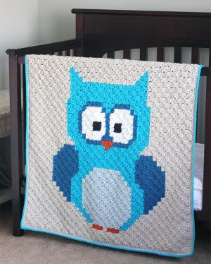 Baby Owl Corner-to-Corner (C2C) Blanket 35 x 35 inches  41x41 pixel squares