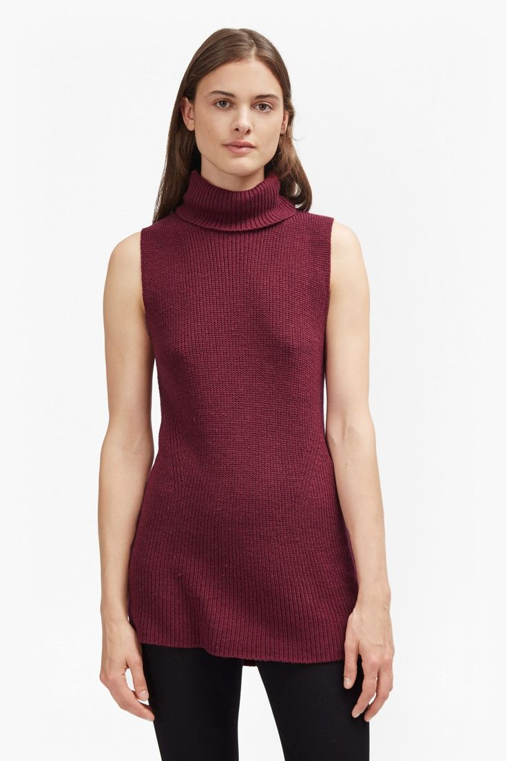 <ul> <li> Chunky rib-knit sleeveless jumper in wool-cotton mix</li> <li> Pointelle detail</li> <li> High, roll neck</li> <li> Stepped hem</li> </ul>