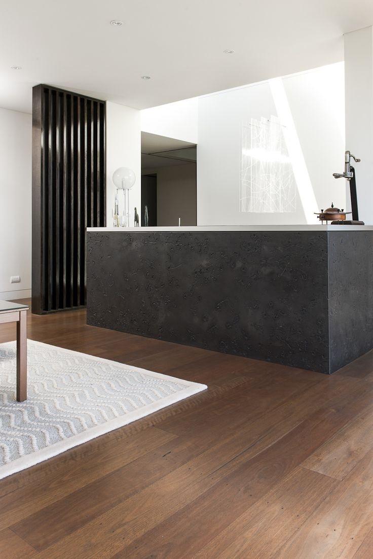 Blackbutt Timber Flooring w/ Charcoal Stain | White + Black interior