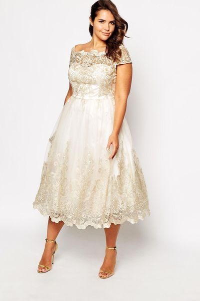 ". Robe de mariée grande taille -  Robe ""Chi Chi London Plus"", 94,99 euros, jusqu'au 52, Asos Curve."