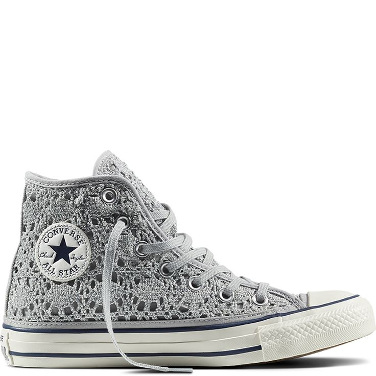 Chuck Taylor All Star Crochet Metallic Pure Silver/White/Navy pure  silver/white/navy