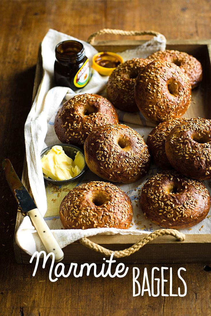 Toast them and schmear butter or cream cheese all over them. These bagels are distinctively British, but feel free to give them the Aussie makeover and replace Marmite with Vegemite. This recipe makes 9 and takes 4 hrs and 55 mins to make in total.