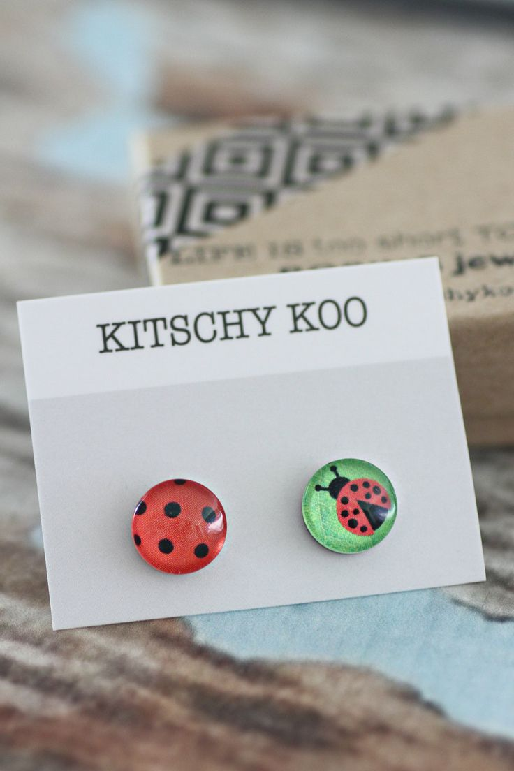FREE SHIPPING - Ladybird Earrings - Lady Bird Lady Bug - Mismatched - Asymmetrical - Unique - Surgical Steel