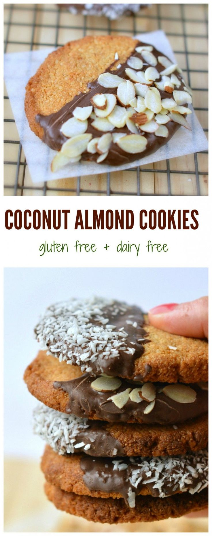 Easy + healthy + delicious cookie recipe in 15 minutes. Coconut Almond cookies, Gluten free, dairy free and refined sugar free.