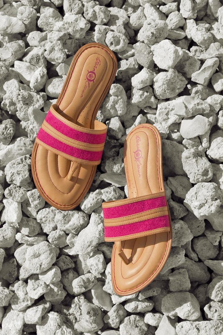 a beachy color-blocked linen thong in bright fuchsia. The Born Crown Natania