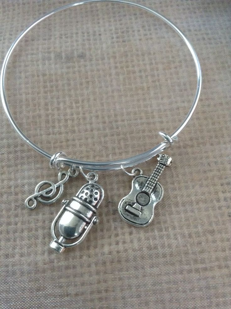 Music Bracelet with guitar, microphone and music symbol-Alex and Ani inspired by SugarMeUpTwo on Etsy