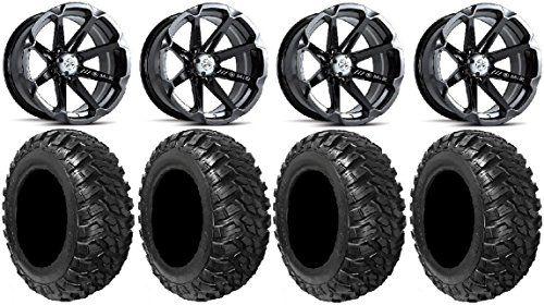 "Bundle - 9 Items: MSA Black Diesel 15"" ATV Wheels 30"" Kanati Mongrel Tires [4x156 Bolt Pattern 12mmx1.5 Lug Kit]. For product info go to:  https://www.caraccessoriesonlinemarket.com/bundle-9-items-msa-black-diesel-15-atv-wheels-30-kanati-mongrel-tires-4x156-bolt-pattern-12mmx1-5-lug-kit/"