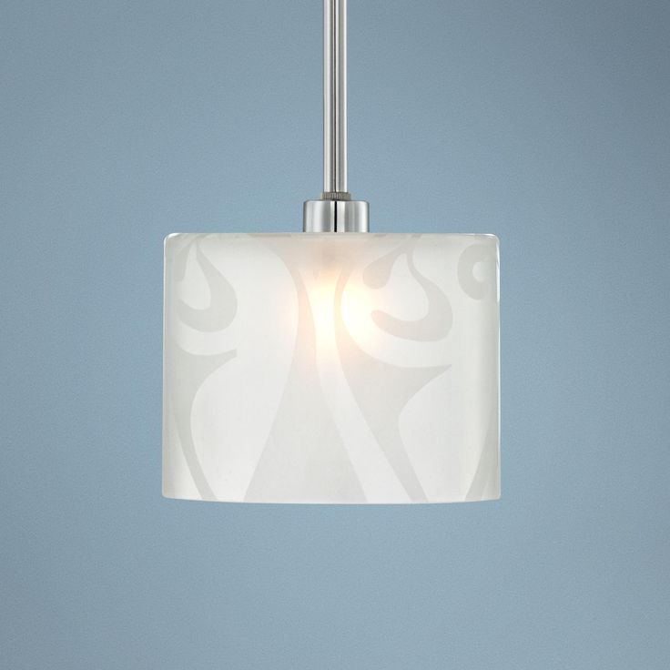 "Etched Glass Brushed Nickel 6"" Wide Mini Pendant Chandelier -"