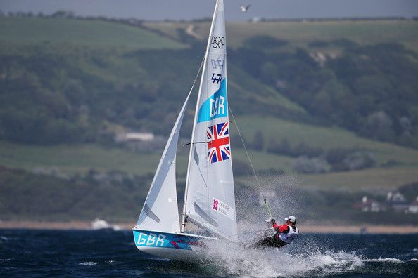 Stuart Bithell Luke Patience (black) and Stuart Bithell of Great Britain compete in the Men's 470 Sailing on Day 6 of the London 2012 Olympi...