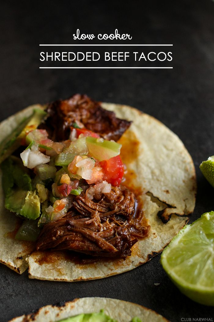 Slow Cooker Shredded Beef Tacos | A ridiculously easy and tasty meal! #tacos