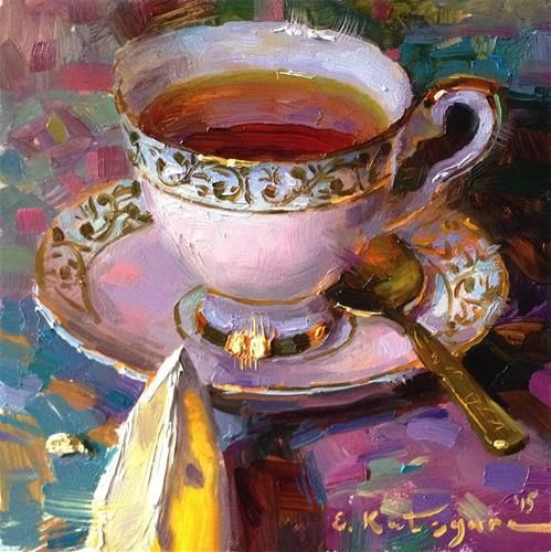 "Daily Paintworks - ""Pearl Teacup and Lemon"" - Original Fine Art for Sale - © Elena Katsyura"