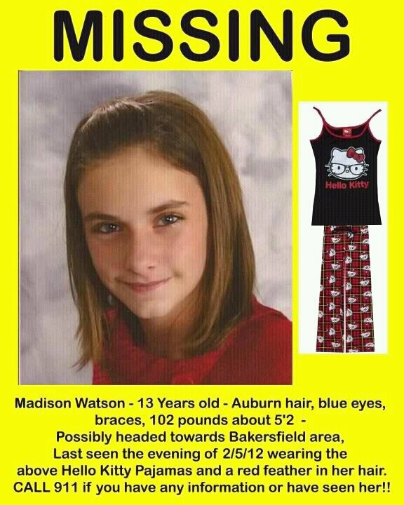 Missing 13 Year Old Boy: Madison Watson, 13 Missing. Please Pray For Her Safe