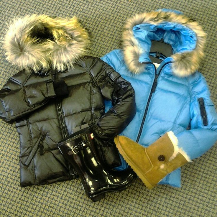 Keep warm in style with down filled jackets from Sam New York. Finish the look with Ugg and Hunter boots, perfect for cold, wet winter days