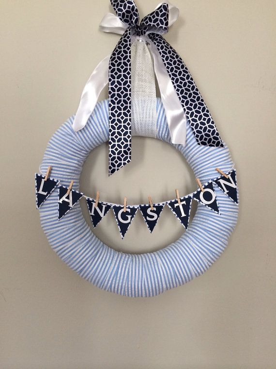 Blue Seersucker Baby Boy Wreath perfect for baby by AnnaMossHome