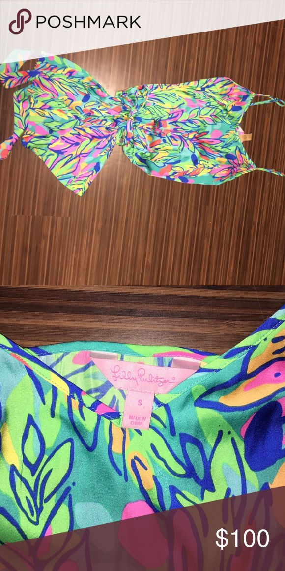 Lilly Pulitzer Spaghetti Strap Romper Vibrant green with pink, blue, and yellow. Tie around waist. Worn once and dry cleaned after Lilly Pulitzer Dresses Mini