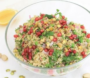 A healthy gluten free quinoa salad with lots of colour, flavour and crunch.
