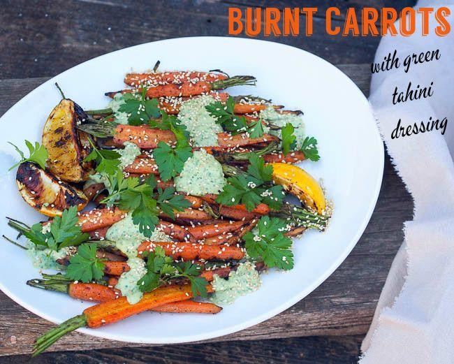 Burnt Carrots with Green Tahini Dressing