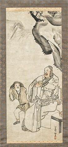 Li Bo or Li Bai by Rosetsu Nagasawa. Japanese hanging scroll. 18th c.