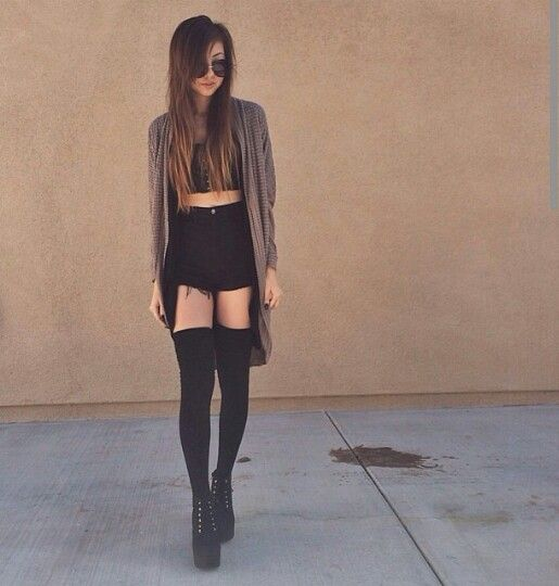 Summer Outfit Inspiration; Slouchy Open Cardigan, High-waisted Shorts, Bralette, Thigh-high Socks, & Creeper Shoes.