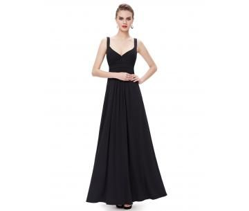 Elegante, zwarte avondjurk met v-hals.
