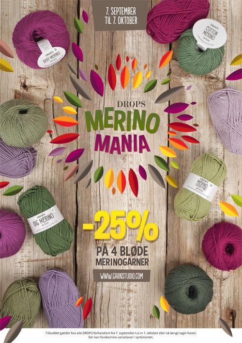 Merino Mania!     DROPS Baby Merino 29% rabat.  DROPS Merino Extra Fine 29% rabat. DROPS Big Merino 31% rabat.  DROPS Cotton Merino 33% rabat.