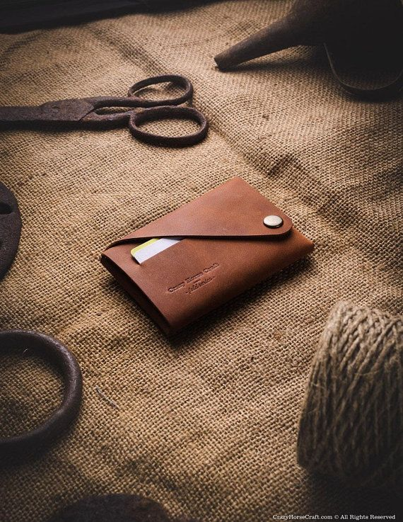 Minimalist Leather Wallet Card Holder Classic Brown Crazy