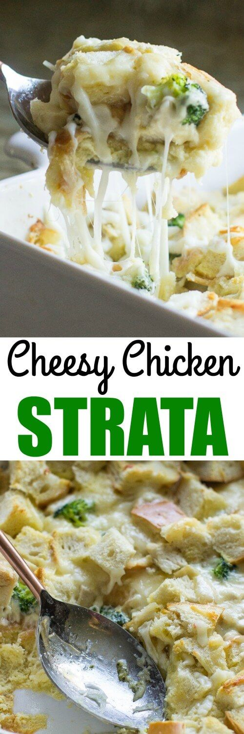 This Cheesy Chicken Strata is so YUMMY! It's a cinch to prepare and puts all your leftovers to work, too.