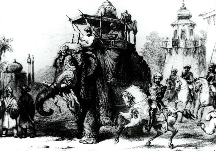 Nana Sahib and his escort. An heir to the Maratha kingdom, but dispossessed and receiving a pension from the East India Company, Nana Sahib accepted the rebels' invitation to take command