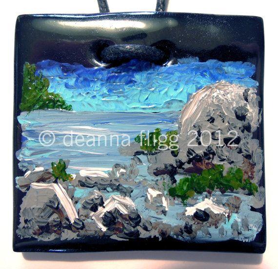 Pacific Shores, B.C., Canada - Original acrylic painting on polymer clay. $45.00, via Etsy.