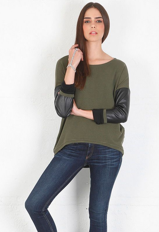 Bobo Leather Sleeved Sweatshirt in Army/Black - designed by Generation Love