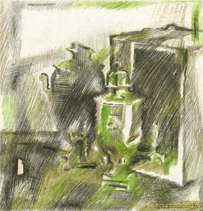 Александр Ливанов Натюрморт с самоварами. 1975 Бумага, цв. карандаш, 46,5х44,7