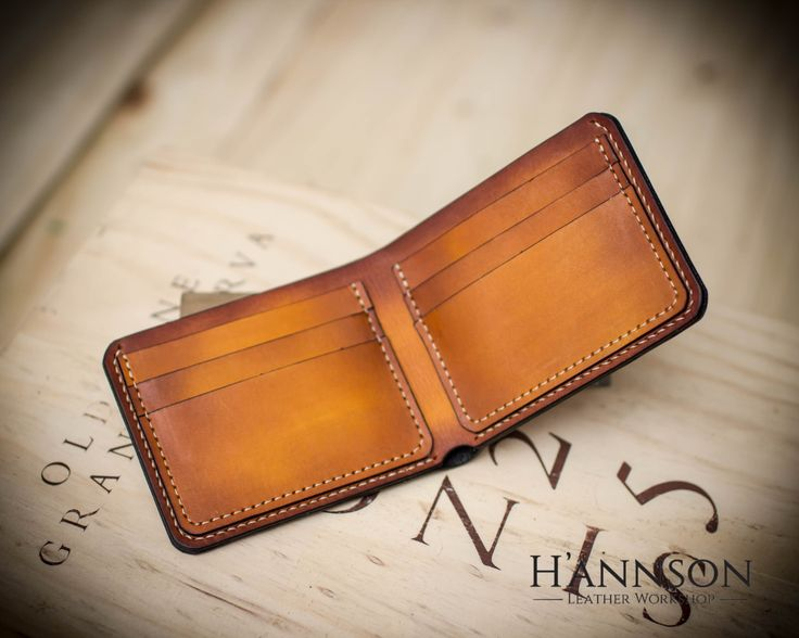 Handmade leather bifold wallet - Gift for men by HannsonLeatherShop on Etsy