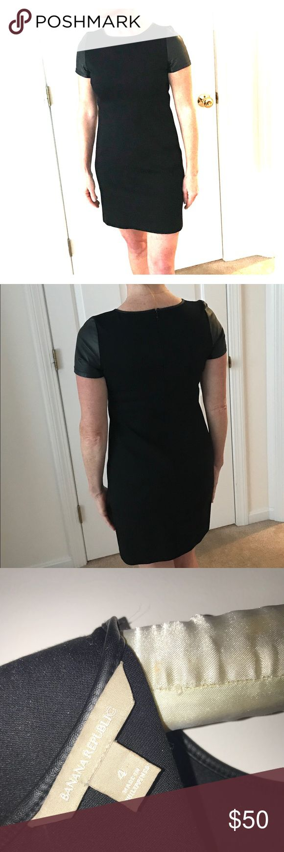 Little Black Dress- knit above knee LBD to Love! Smart and a little sexy...Slim a-line knit, t-shirt sleeve & neckline. Stretch knit material is flattering, NOT clingy. But the fresh faux-leather sleeve and piping around neckline make this little number so VERSATILE! Banana Republic Dresses Midi