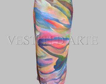 HAND PAINTED SKIRT for womens clothing long skirt maxi skirt boho skirt long denim skirt maxi dress pencil skirt womens skirt african…