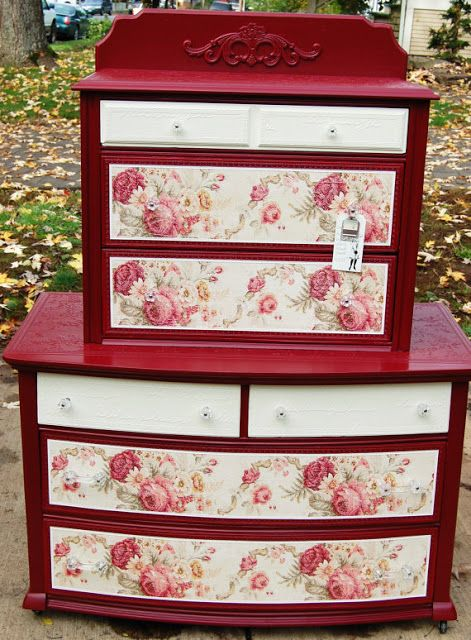 Vintage Red Painted Furniture- just picked up a new/old dresser, this would be great with the black and white floral contact paper i found at the dollar tree; maybe with a dark charcoal paint