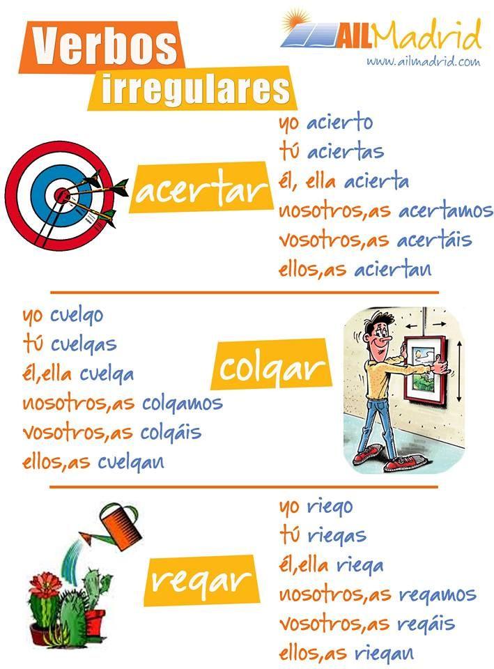 Verbos irregulares presente Acertar Colgar Regar http://ailmadrid.tumblr.com/