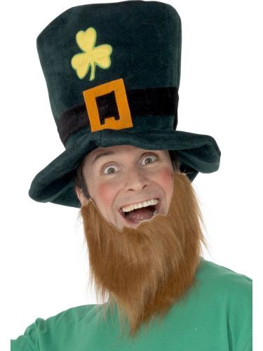 Irish St Patricks Leprechaun Hat & Beard Kit Mens Fancy Dress Costume Accessory (25241) | Costume Hats Tiaras and Boppers | National Hats
