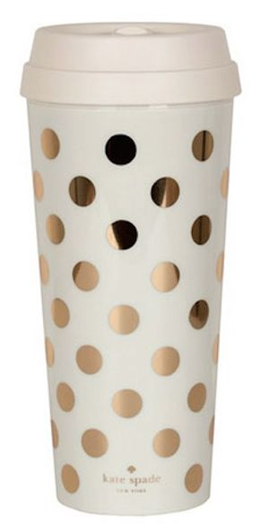 gold polkadot coffee tumbler