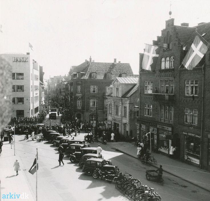 Engelske soldater i Mathiasgade ved befrielsen 1945.